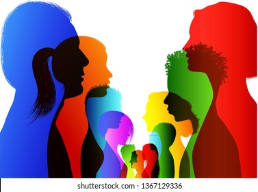 Discussion or comparison between friends. Group of isolated colored silhouette people talking. Communication between the crowd. Dialogue people profile. Conference or debate. Multiple exposure