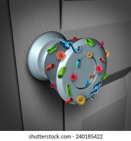 Disease spread and the dangers of spreading germs in public as a health care risk concept to  not wash your hands as a dirty infected door knob with microscopic viruses and bacteria.