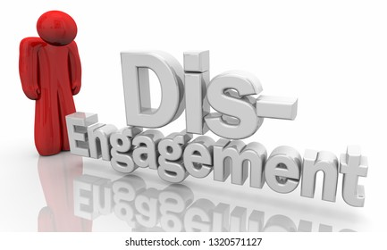 Disengagement Sad Person Left Out Words 3d Illustration