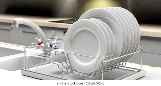 Dish drying rack with white clean plates on a white kitchen sink counter. 3d illustration