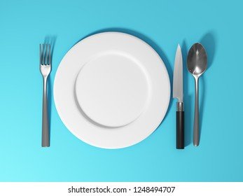 Dishes and cutlery on blue background. 3D illustration.