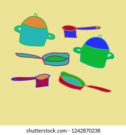 Dishes, pans, frying pans pattern, spots . Hand drawn.