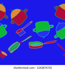Dishes, pans, frying pans pattern, spots  seamless pattern. Hand drawn.