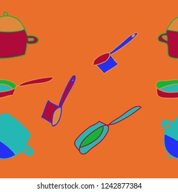 Dishes, pans, frying pans pattern, spots seamless pattern . Hand drawn.