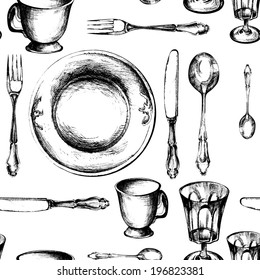 Dishes Set Seamless Pattern