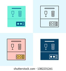 Dishwasher icon set in flat and line styles. Professional restaurant equipment symbols.