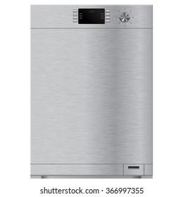 Dishwasher. Raster version. Illustration isolated on white background.