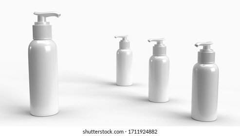 Disinfecting 3D mockup hand clear gel pump