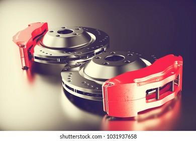 Disk brake. Brakes for car. 3D rendering.