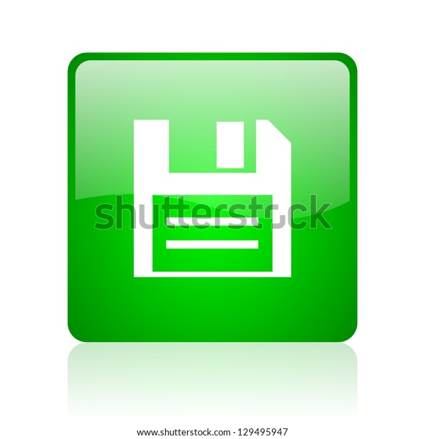 disk green square web icon on white background