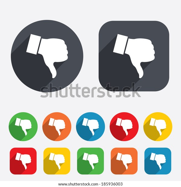 Dislike sign icon. Thumb down sign. Hand finger down symbol. Circles and rounded squares 12 buttons.