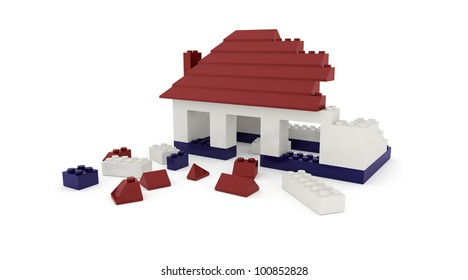 Dismantled toy house isolated rendered