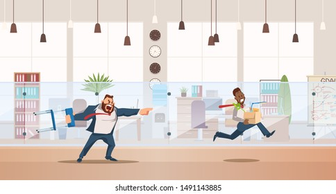 Dismissed, Loss Job. Angry Boss Dismiss Employee. Office Worker Fired for Bad Work. Unemployment and Job Reduction Concept. Bad Working Day. Fired Man carrying Box. Illustration Flat style.