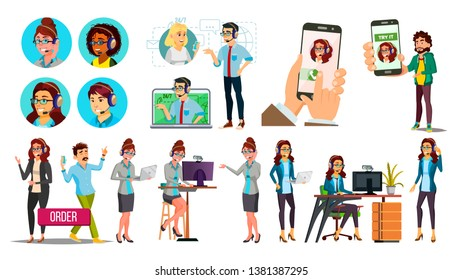 Dispatchers, Client Support Team Characters Set. Male, Female Dispatchers Using Professional Equipment. Operators, Sales Managers Wearing Headset. Call Center Workers Flat Illustration