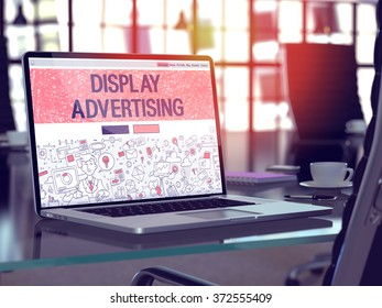 Display Advertising Concept Closeup on Landing Page of Laptop Screen in Modern Office Workplace. Toned Image with Selective Focus. 3d Render.