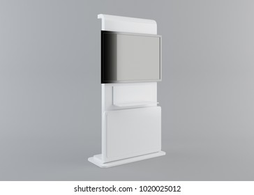 Display with black screen on mobile stand side view with clipping path. 3D rendering