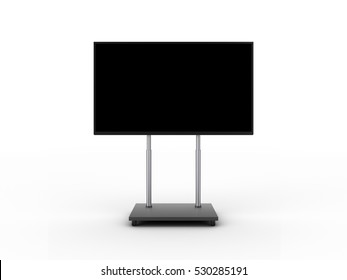 Display with black screen on mobile stand front view