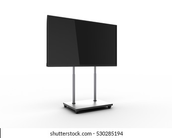 Display with black screen on mobile stand angled view