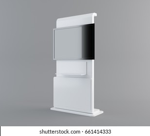 Display with black screen on mobile stand side view. 3D rendering