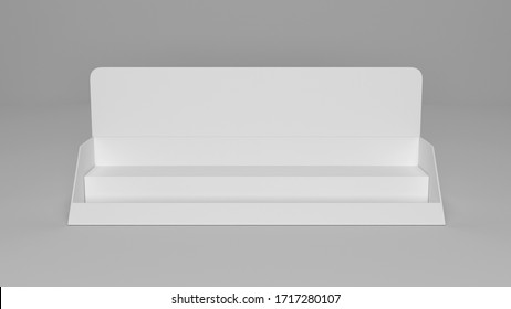 Display Cardboard Counter Shelf Holder Box POS Blank Empty. Mockup, Mock Up, Template. On White Background Isolated. 3D Illustration