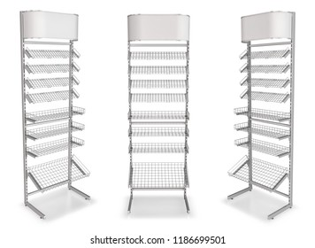 Display cash metal with wire shelves and topper, 3d illustration isolated on white