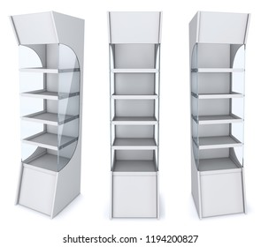 Display rack with shelves for shops. Set of 3d illustrations isolated on white.