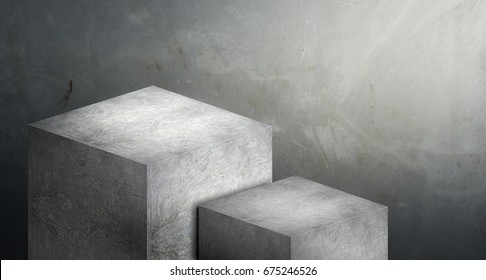 Display stand podium made from grey concrete in two step with copy space for display of product design at blur cement background,Banner for advertise on website,Tough look for adventure ,3d rendering