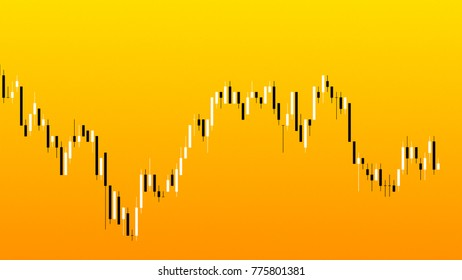 Display of Stock market quotes. Candlestick chart on color background of stock market investment trade.
