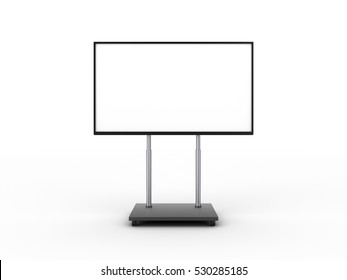 Display with white screen on mobile stand front view