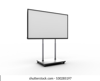 Display with white screen on mobile stand angled view