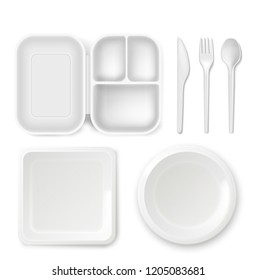 Disposable plastic dishware plates and cutlery illustration. 3D realistic lunch box, spoon, fork or knife and food package container. Picnic party tableware isolated icons on white background