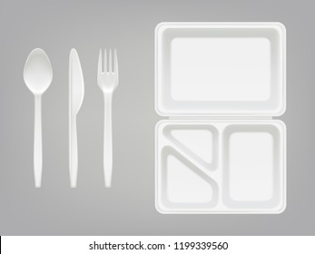 Disposable plastic lunch box and cutlery illustration of 3D realistic spoon, fork or knife and lunch-box container with partition. Picnic party tableware isolated icons set on gray background