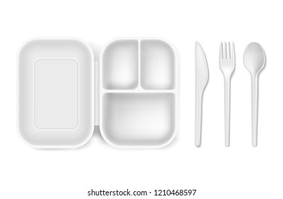 Disposable plastic spoon, fork or knife and lunch-box illustration. Realistic white 3D plastic lunch box and cutlery or picnic and party tableware isolated icons set on white background