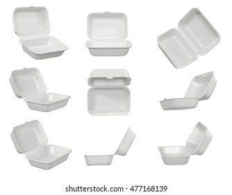 Disposable Take Out Container Styrofoam Open 3D illustration
