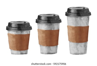 Disposable white paper coffee cups with black lids, 3 different sizes, small, medium, large