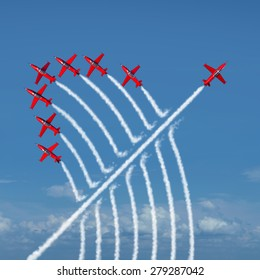 Disruptive innovation Independent leadership concept and individuality as a group of acrobatic jets with one individual jet going in the opposite direction as a business symbol for new thinking.
