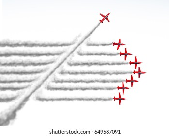 Disruptor and game changer business or political change concept and disruptive innovation symbol as an individual jet breaking through a group of airplane smoke as a 3D illustration on white.