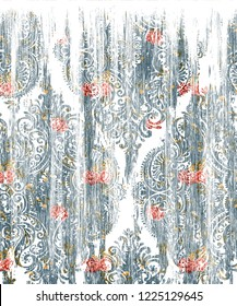 dissolved effect damask background. The old, worn out, old effect of disappearing contains small round particles.  worn, old view damask  pattern