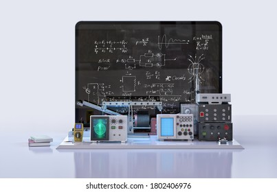 Distance learning, online education, back to school concept. Physics lab equipment, formulas on tablet screen, color background. Online video physics digital classroom lesson 3D design composition