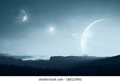 Distant alien world - earth like planet with multiple moons