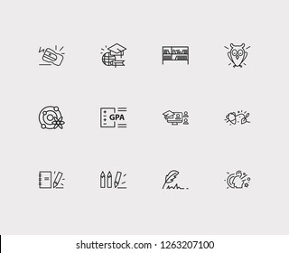 Distant education icons set. Archaeology and distant education icons with notepad, online course and astrophysics. Set of academic for web app logo UI design.