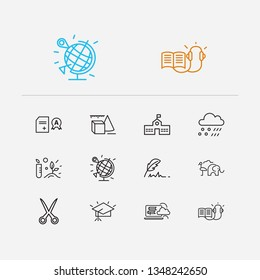 Distant education icons set. Meteorology and distant education icons with quill pen, primary school and school transcript. Set of construction for web app logo UI design.