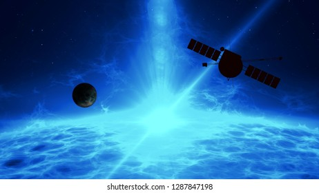 Distant exoplanet exploration by space probe. Flight over large blue quasar surface with gamma rays, plasma eruption and energy explosion. Astronomy art concept 3d illustration.