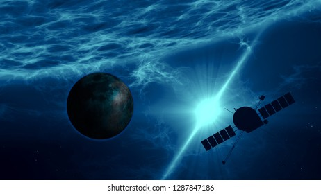 Distant exoplanet exploration by spacecraft. Space probe flight over large blue quasar surface with gamma rays, plasma eruption and energy explosion. Astronomy art concept 3d illustration.