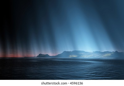 distant land appearing out of the sea - lit by strange rays coming out of the dark