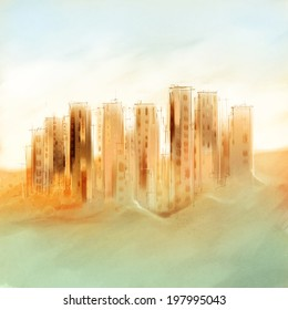 distant skyscrapers, cityscape - freehand drawing, loosely suggested shapes - draft only, digital painting, urban symbolics