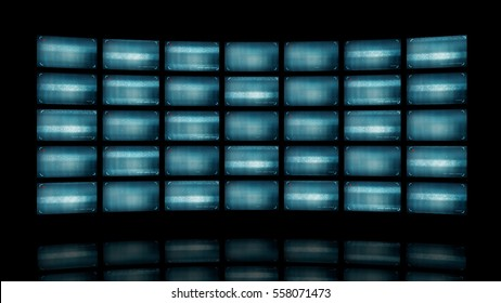 Distorted curved video wall. 3d rendering