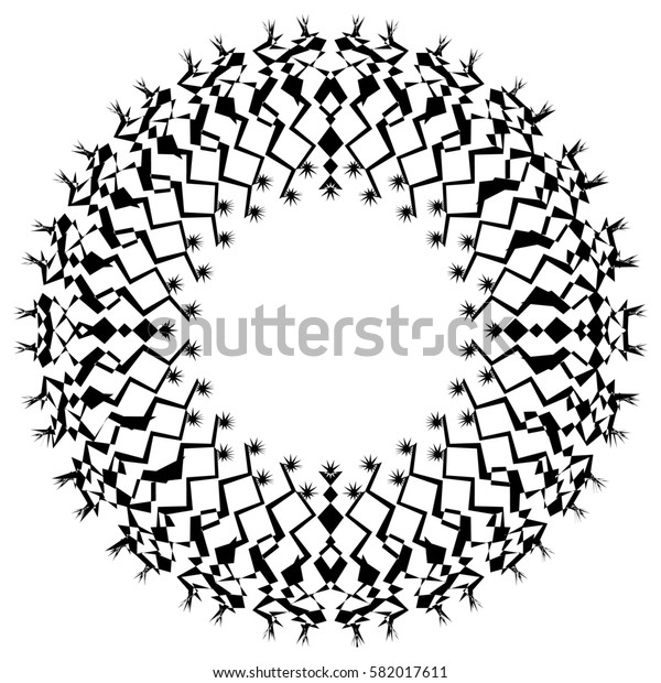 Distorted, deformed abstract radial, radiating element. Abstract shape on white