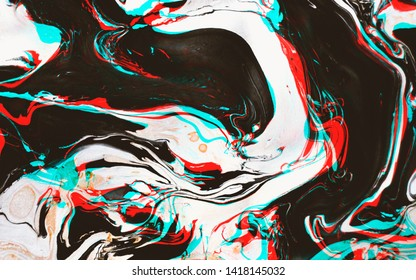 Distorted and glitched texture of marbled ink surface with lomography effect, lo-fi rgb artefacts. Vaporwave style abstract minimal background.