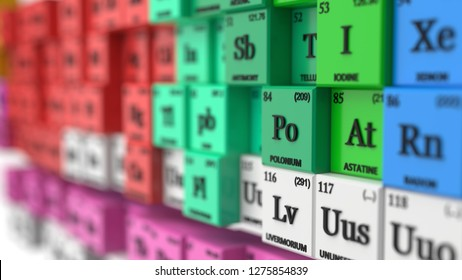 distorted periodic table concept. cubes colored by element groups. suitable for, physics, science, technology and education themes. 3d illustration
